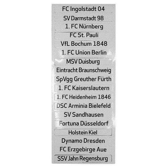 Set Clubnamen für Magnettabelle 2. Bundesliga 2017/2018