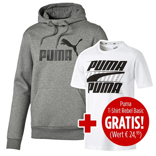 Puma Hoodie ESS No. 1 mit T-Shirt Rebel Basic 2er Set grau/weiß