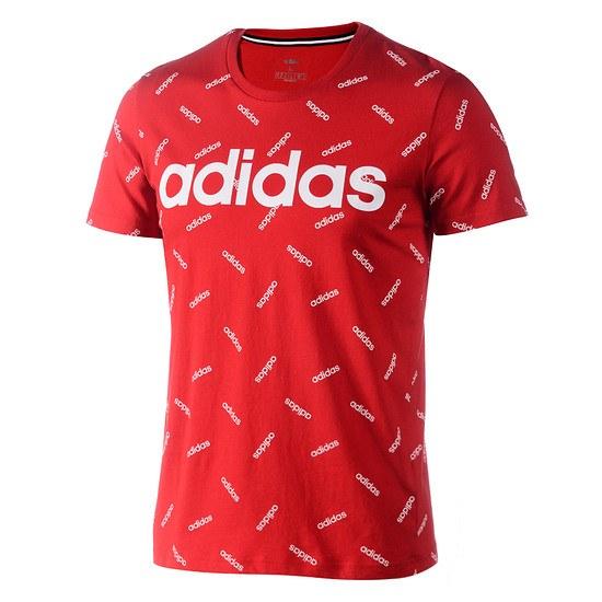 Adidas T-Shirt AOP Core rot/weiß
