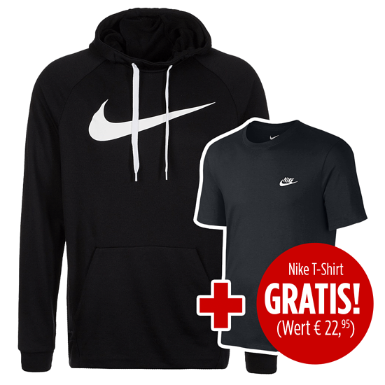 Nike Hoodie Performance Dry Fit inkl. T-Shirt Club gratis Schwarz