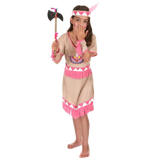 Karnevals- Kostüm Indianerin Squaw Mädchen beige/rosa