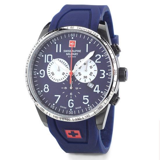 Swiss Alpine Military Herrenuhr Chronograph mit Silikonarmband Blau/Blau