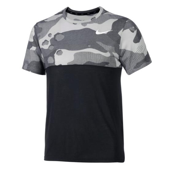 Nike T-Shirt Dry-Fit Camo Schwarz