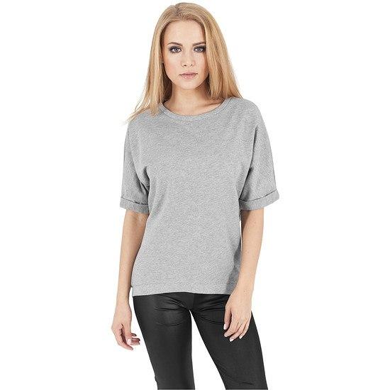 URBAN CLASSICS Sweatshirt Short Sleeve Terry Crew Damen Grau