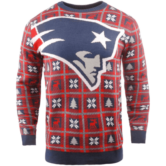 Forever Collectibles New England Patriots Ugly Sweater Big Logo blau