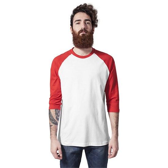 URBAN CLASSICS 3/4 Sleeve Contrast Raglan weiß/rot