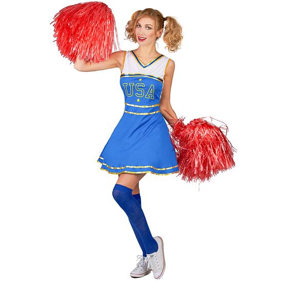 Karnevals- Kostüm Cheerleader USA Damen blau/weiß