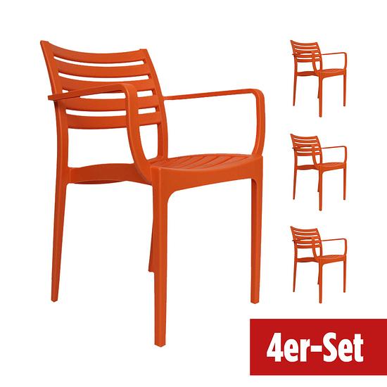 BREAZZ Gartenstuhl Montieri 4er Set orange