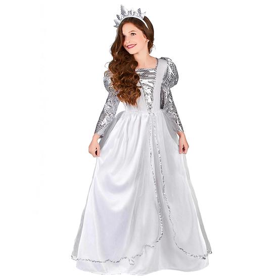 Karnevals- Kostüm Zarte Prinzessin Kinder weiß/silber