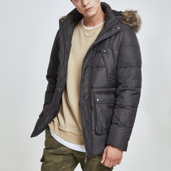 URBAN CLASSICS Winterjacke Faux Fur Hooded schwarz