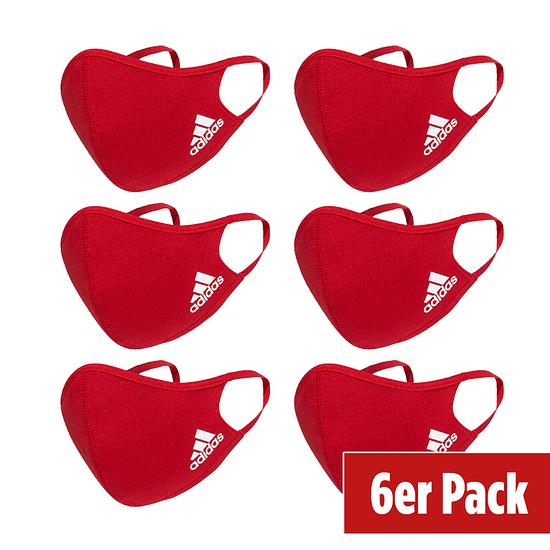 Adidas 6er Set Mund-Nase Maske Erwachsene Rot