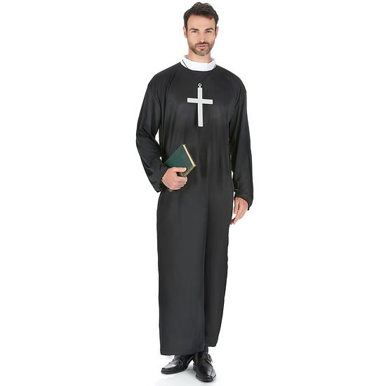 Karnevals- Kostüm Bibeltreuer Priester Pfarrer schwarz/weiß