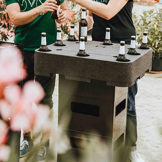 Siena Garden Biertisch / Bierlounge mit Deckel, für Bierkästen Schwarz