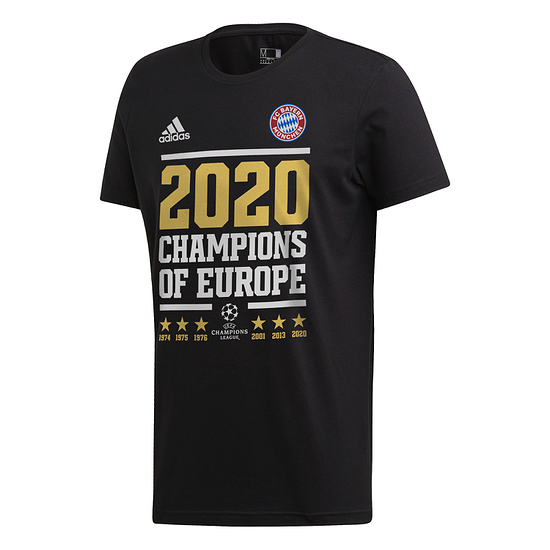 Adidas FC Bayern München T-Shirt CL Sieger 2020 Schwarz