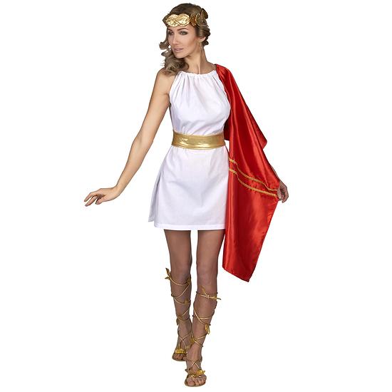 Karnevals- Kostüm Römerin Antike Damen rot/weiß/gold