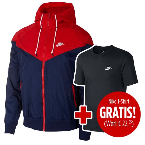 Nike Kapuzenjacke Windrunner inkl. T-Shirt Club gratis Blau/Rot/Schwarz