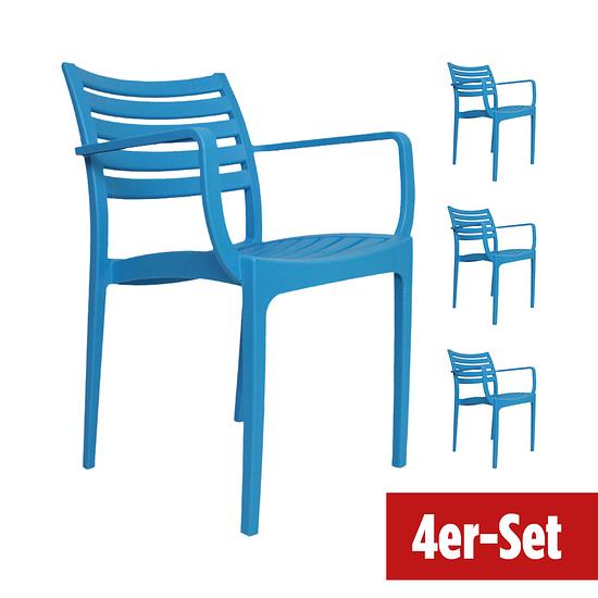 BREAZZ Gartenstuhl Montieri 4er Set blau