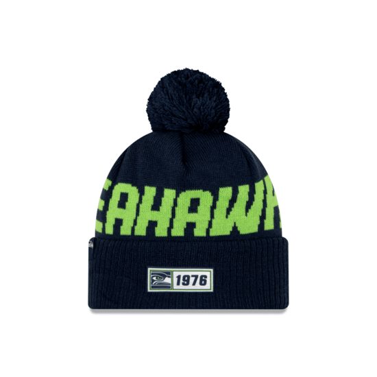 New Era Seattle Seahawks Beanie On Field Sport Knit RD blau