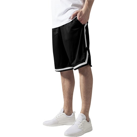 URBAN CLASSICS Shorts Stripes Mesh Schwarz/Schwarz/Weiß