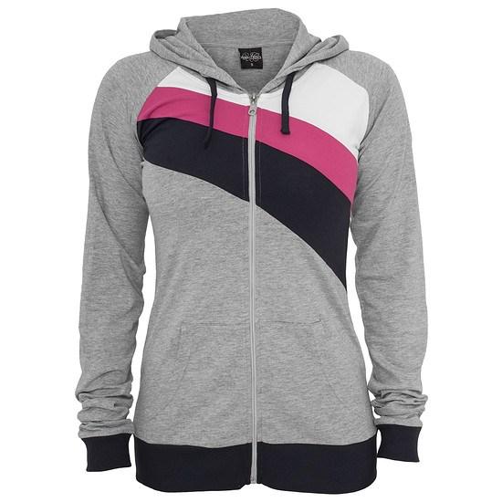 URBAN CLASSICS Hoodie Tri-Color Zip Damen Grau/Navy/Fuchsia