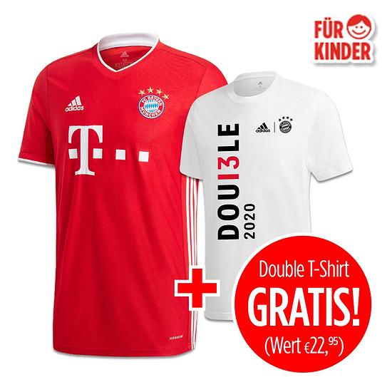 Adidas FC Bayern München Heim Trikot 20/21 plus Double Shirt gratis Kinder