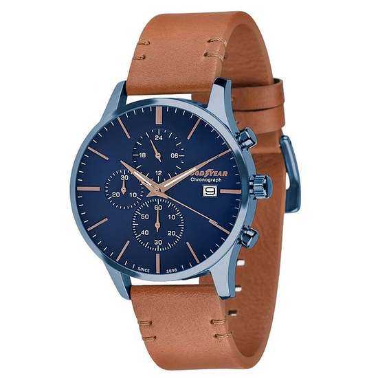 GOODYEAR Herrenuhr Chronograph Leder schlank Blau