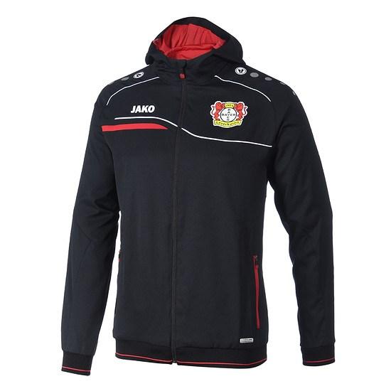 Jako Bayer 04 Leverkusen Einlaufkapuzenjacke schwarz/rot