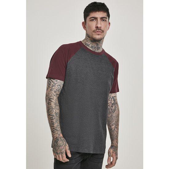 URBAN CLASSICS T-Shirt Raglan Contrast Dunkelgrau/Burgunder