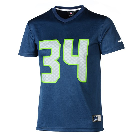 Majestic Athletic Seattle Seahawks PolyMesh T-Shirt Rawls Nr 34 blau