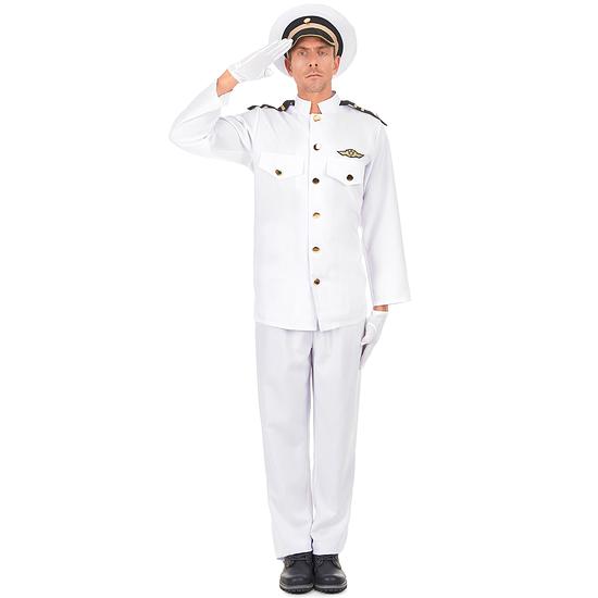 Karnevals- Kostüm Marineoffizier Kapitän weiß/schwarz/gold