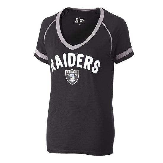 New Era Las Vegas Raiders T-Shirt V-Neck Damen schwarz