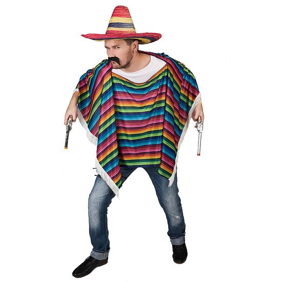 Karnevals- Kostüm Mexikanischer Poncho bunt