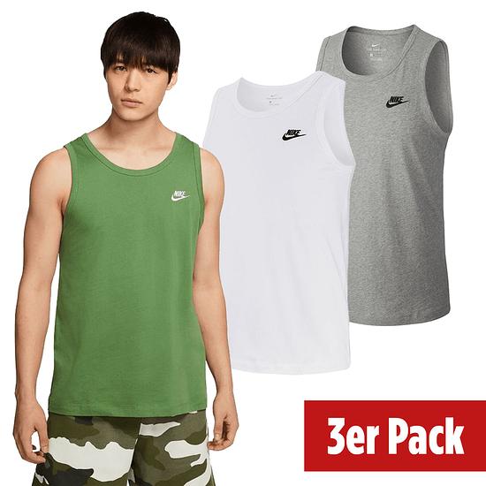 Nike Tanktop Sportswear Uni 3er Set Weiß/Grün/Grau