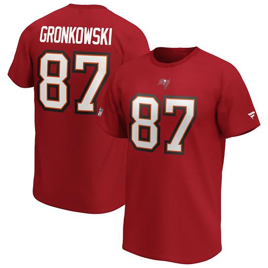 Fanatics Tampa Bay Buccaneers T-Shirt Iconic N&N Gronkowski No 87 rot