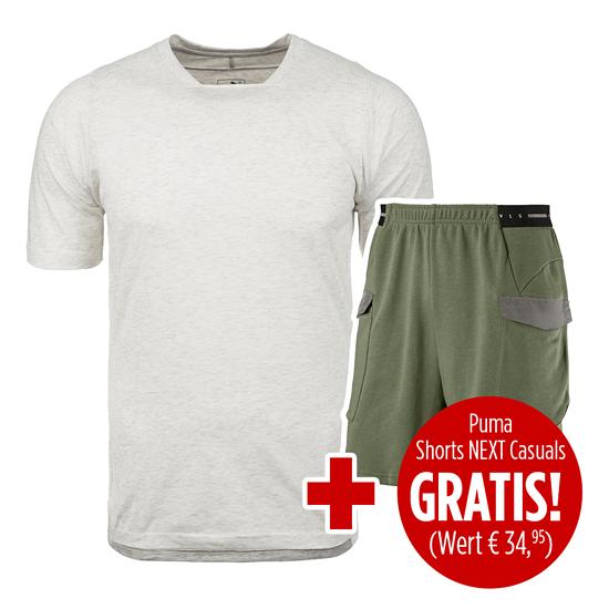 Puma Shorts NEXT Casuals mit T-Shirt Casuals FINAL 2er Set oliv/grau/weiß