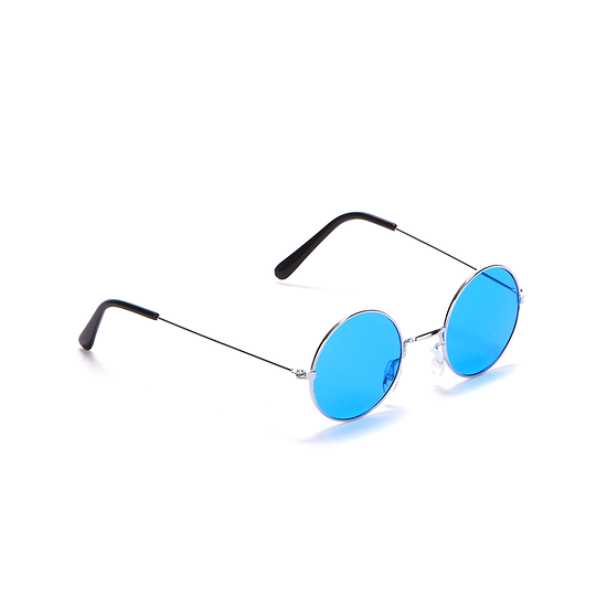 Karnevals- Brille Hippie 70er Jahre blau