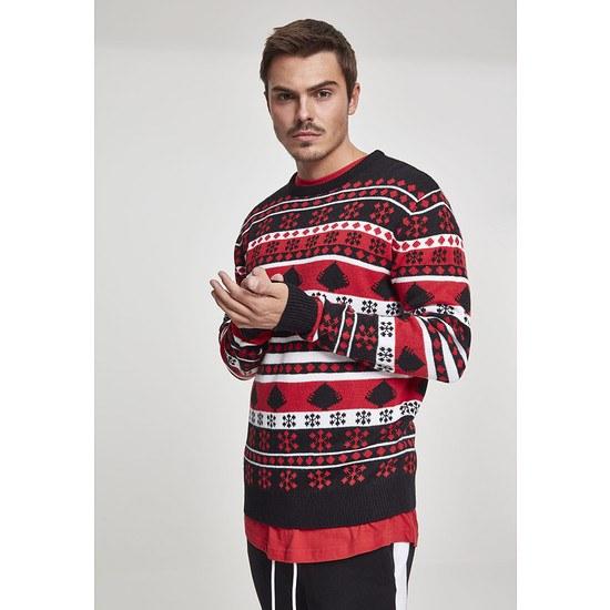 URBAN CLASSICS Christmas Sweater Snowflake Tree schwarz/rot/weiß