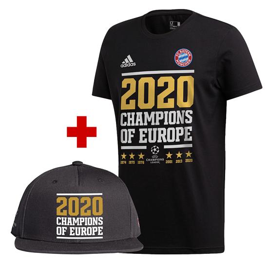 Adidas FC Bayern München T-Shirt CL Sieger 2020 Schwarz + CL Cap schwarz