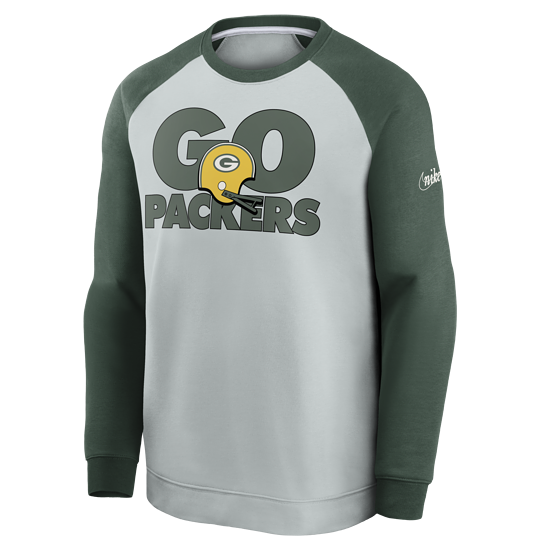 Nike Green Bay Packers Sweatshirt Go Helmet Historic Raglan silber/grün