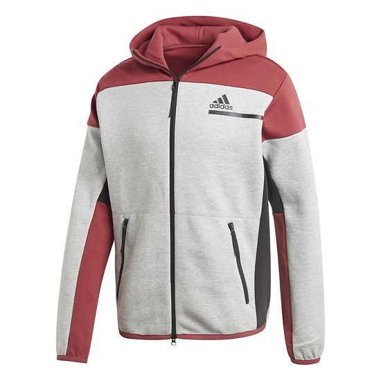 Adidas Fleecekapuzenjacke ZNE Grau/Rot