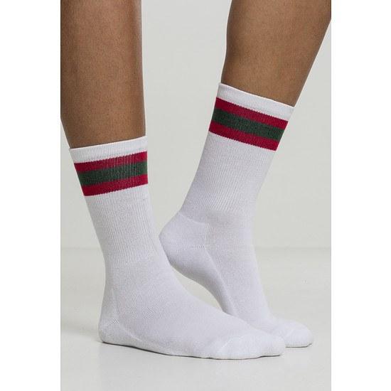 URBAN CLASSICS Socken Stripy Sport 2er-Pack weiß/rot/grün