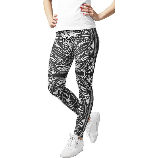 URBAN CLASSICS Leggings Ornament Damen Schwarz/Weiß