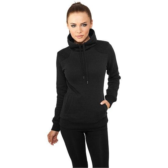 URBAN CLASSICS Sweatshirt Contrast Shoulder High Neck Damen Schwarz