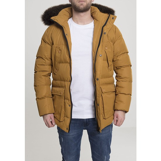 URBAN CLASSICS Winterjacke Faux Fur Hooded braun