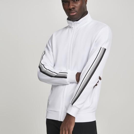 URBAN CLASSICS Trackjacke Sleeve Taped weiß/grau