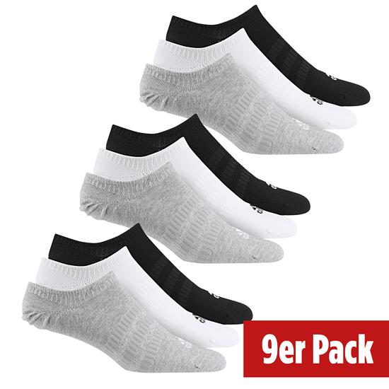 Adidas Sportsocken No Show 3er Pack - 3er Set = 9 Paar Socken schwarz/weiß/grau