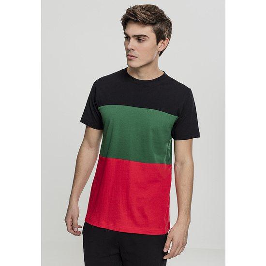 URBAN CLASSICS T-Shirt Color Block rot/schwarz/grün