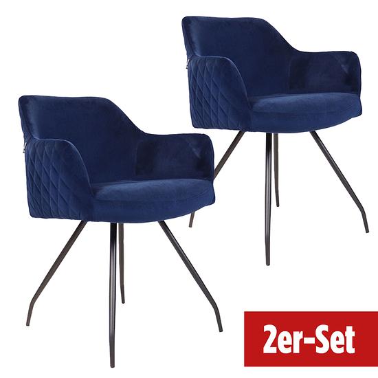 BREAZZ Stuhl Neola Velvet 2er Set blau