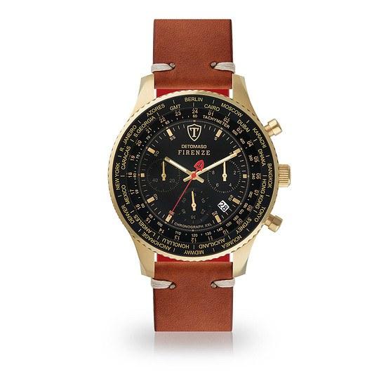 DETOMASO FIRENZE XXL Herren Armbanduhr Chronograph Gold/Schwarz/Braun
