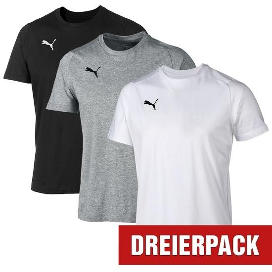 Puma T-Shirt LIGA Set 3er Pack Schwarz/Grau/Weiß